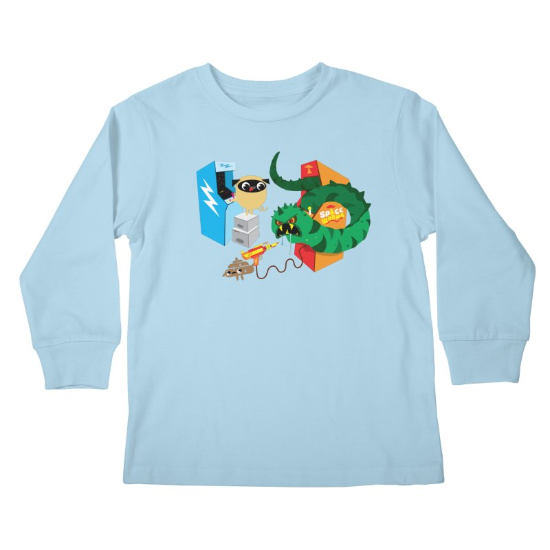 Pug & Poo Space Worms Kids Longsleeve T-Shirt by Rick Hill Studio's Artist Shop