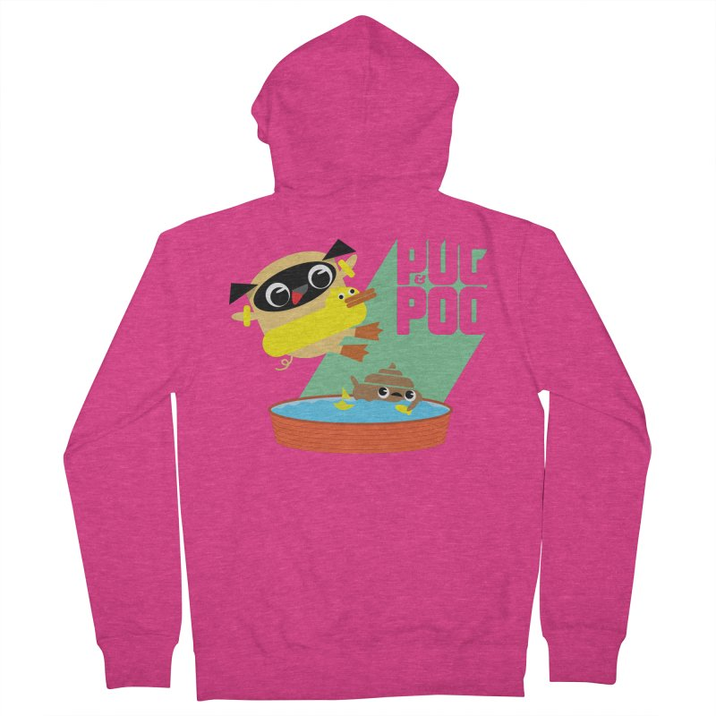 Pug Cannon Ball! Women's French Terry Zip-Up Hoody by Rick Hill Studio's Artist Shop