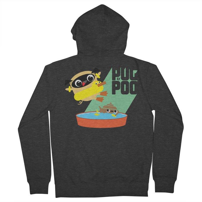 Pug Cannon Ball! Men's Zip-Up Hoody by Rick Hill Studio's Artist Shop