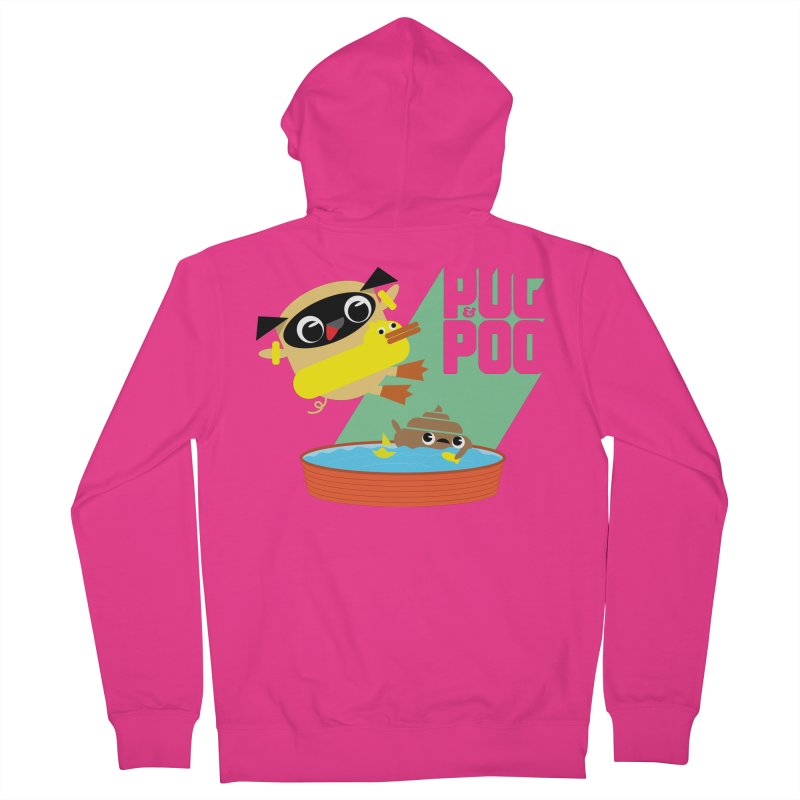 Pug Cannon Ball! Men's Zip-Up Hoody by Rick Hill Studio's Artist Shop