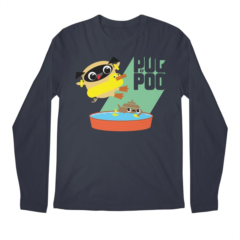 Pug Cannon Ball! Men's Longsleeve T-Shirt by Rick Hill Studio's Artist Shop