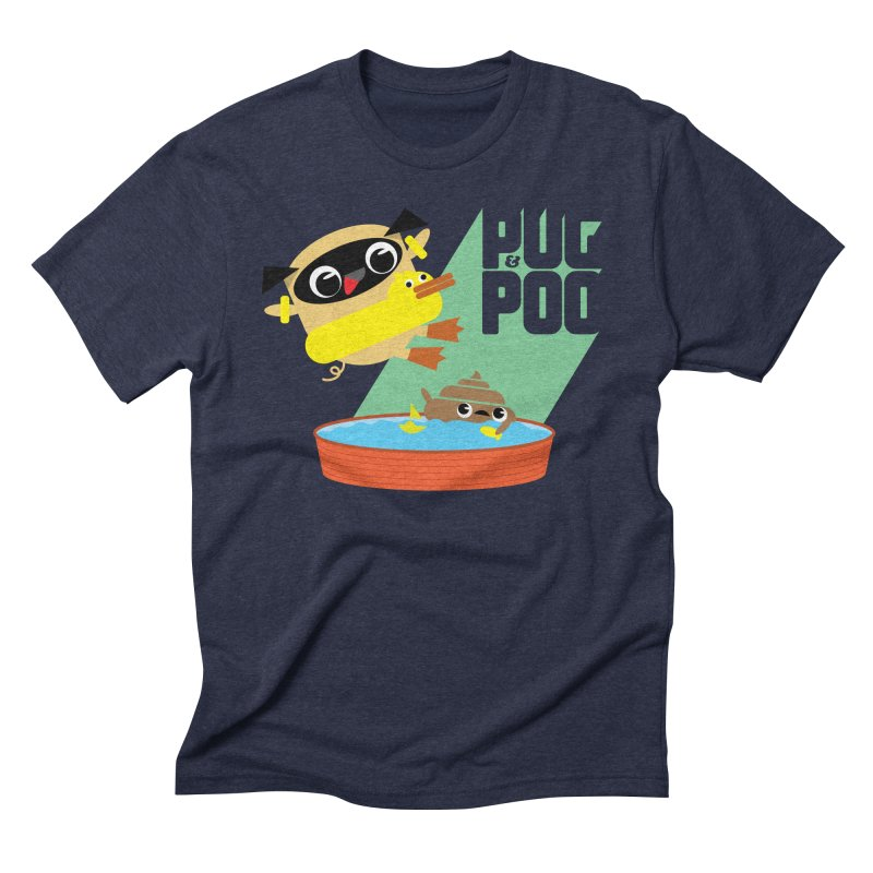 Pug Cannon Ball! Men's Triblend T-Shirt by Rick Hill Studio's Artist Shop