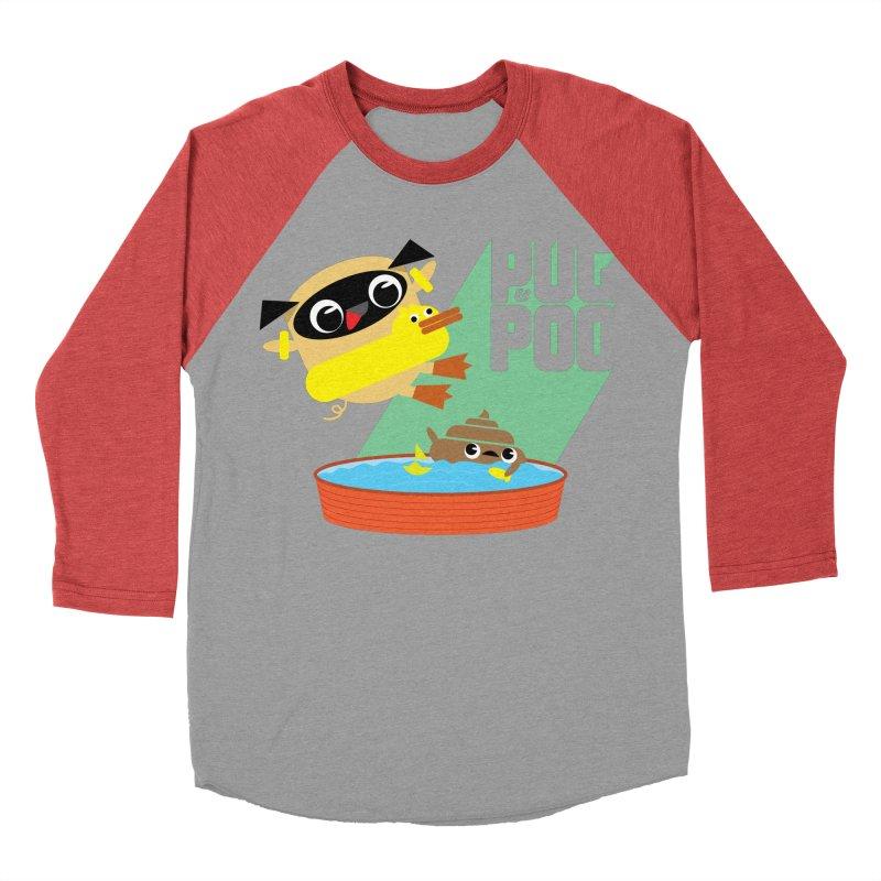 Pug Cannon Ball! Women's Baseball Triblend T-Shirt by Rick Hill Studio's Artist Shop