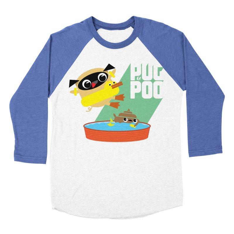 Pug Cannon Ball! Men's Baseball Triblend Longsleeve T-Shirt by Rick Hill Studio's Artist Shop