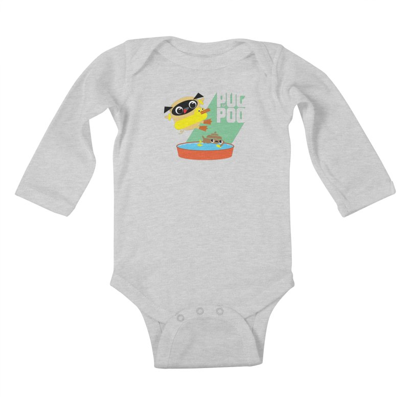 Pug Cannon Ball! Kids Baby Longsleeve Bodysuit by Rick Hill Studio's Artist Shop