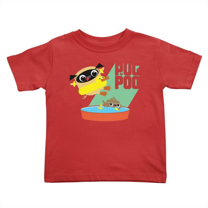 Pug Cannon Ball! Kids Toddler T-Shirt by Rick Hill Studio's Artist Shop