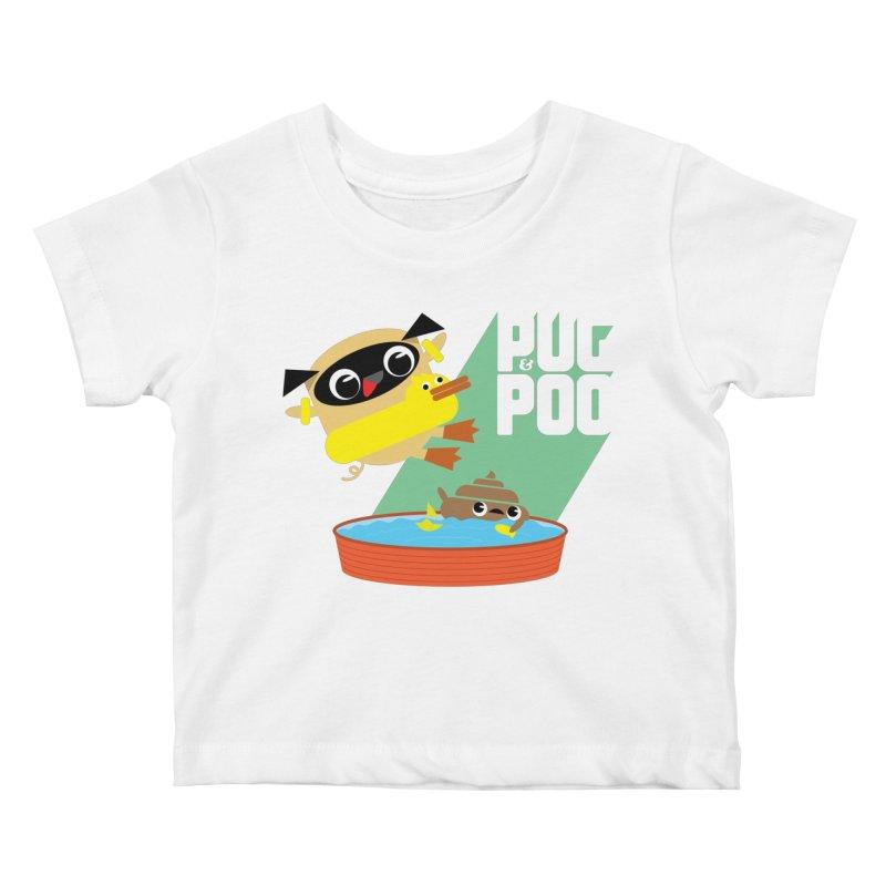 Pug Cannon Ball! Kids Baby T-Shirt by Rick Hill Studio's Artist Shop