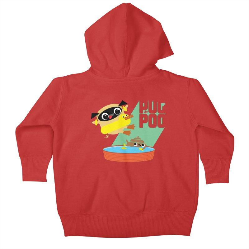 Pug Cannon Ball! Kids Baby Zip-Up Hoody by Rick Hill Studio's Artist Shop