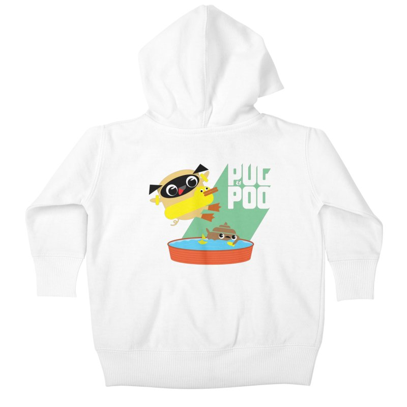 Pug Cannon Ball! Kids Baby Zip-Up Hoody by Rick Hill Studio's Artist Shop