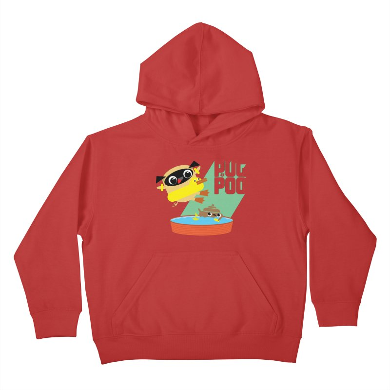Pug Cannon Ball! Kids Pullover Hoody by Rick Hill Studio's Artist Shop