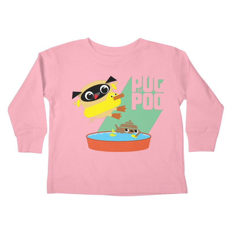 Pug Cannon Ball! Kids Toddler Longsleeve T-Shirt by Rick Hill Studio's Artist Shop