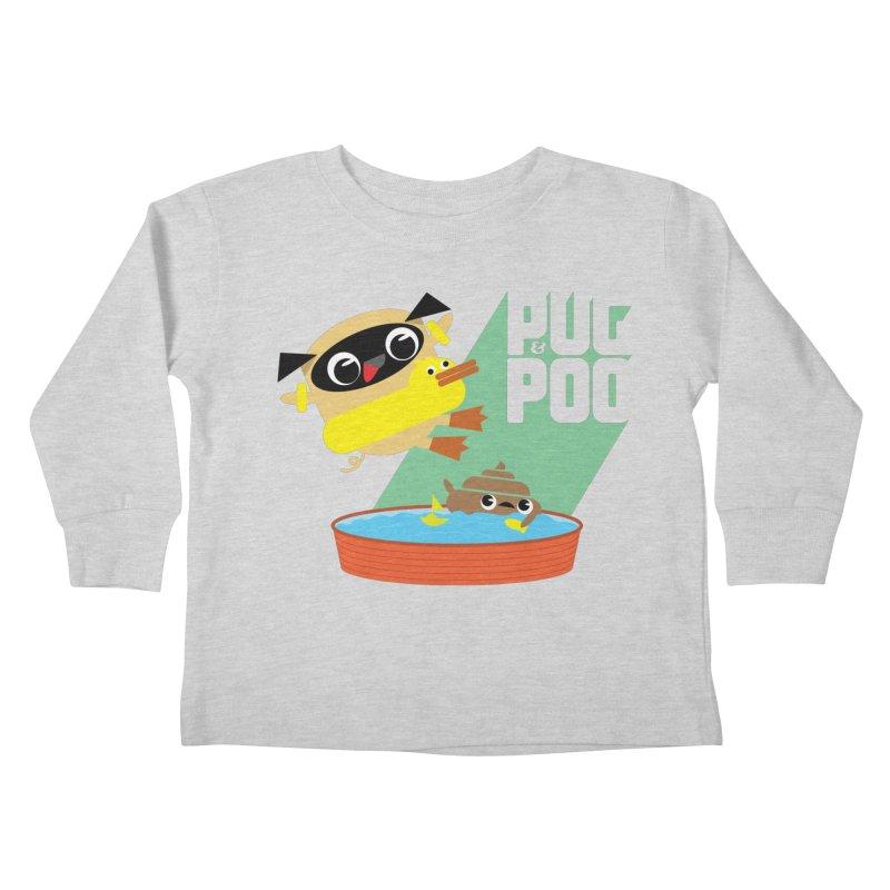 Pug Cannon Ball! Kids Toddler Longsleeve T-Shirt by Rick Hill Studio's Artist Shop