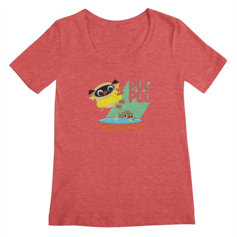 Pug Cannon Ball! Women's Scoopneck by Rick Hill Studio's Artist Shop