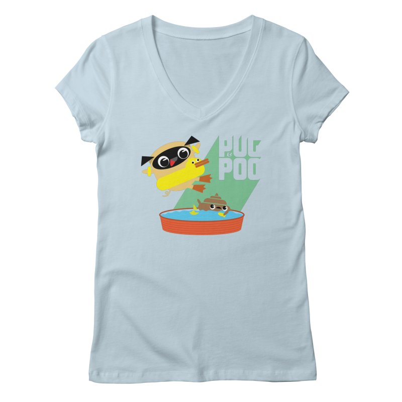Pug Cannon Ball! Women's V-Neck by Rick Hill Studio's Artist Shop