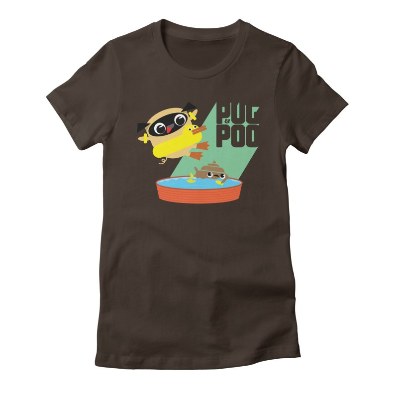 Pug Cannon Ball! Women's Fitted T-Shirt by Rick Hill Studio's Artist Shop