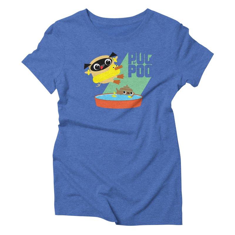 Pug Cannon Ball! Women's Triblend T-shirt by Rick Hill Studio's Artist Shop