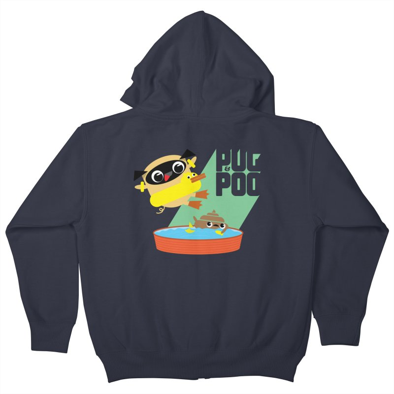 Pug Cannon Ball! Kids Zip-Up Hoody by Rick Hill Studio's Artist Shop
