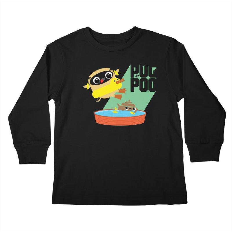 Pug Cannon Ball! Kids Longsleeve T-Shirt by Rick Hill Studio's Artist Shop