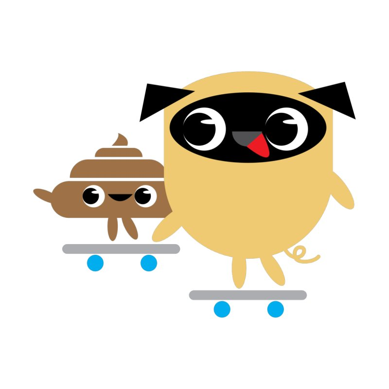 Pug & Poo Skateboarding Men's T-Shirt by Rick Hill Studio's Artist Shop