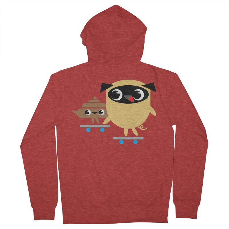Pug & Poo Skateboarding Men's Zip-Up Hoody by Rick Hill Studio's Artist Shop
