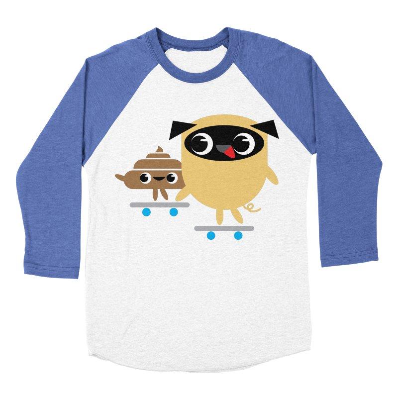 Pug & Poo Skateboarding Men's Baseball Triblend Longsleeve T-Shirt by Rick Hill Studio's Artist Shop