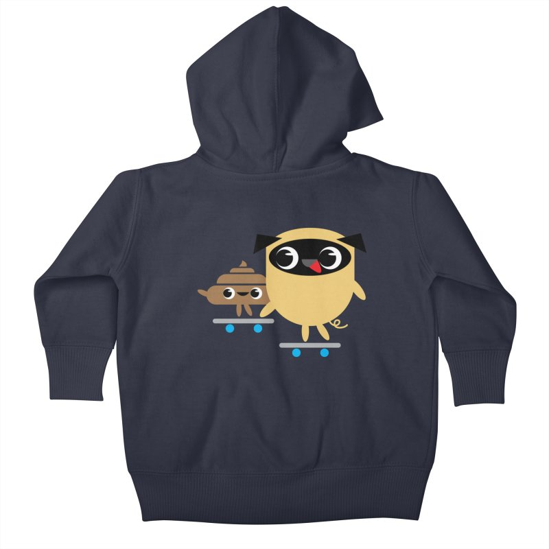 Pug & Poo Skateboarding Kids Baby Zip-Up Hoody by Rick Hill Studio's Artist Shop