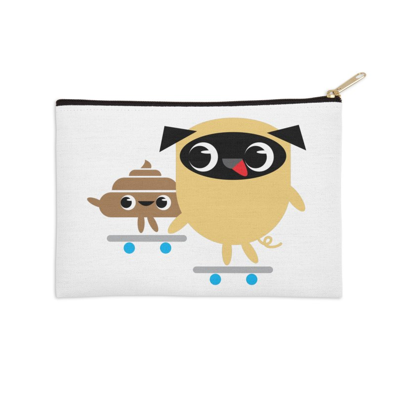 Pug & Poo Skateboarding Accessories Zip Pouch by Rick Hill Studio's Artist Shop