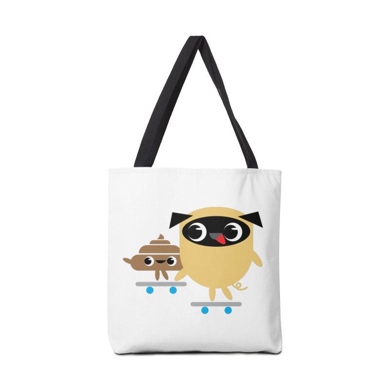 Pug & Poo Skateboarding Accessories Tote Bag Bag by Rick Hill Studio's Artist Shop