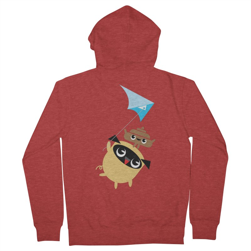 Pug & Poo Flying A Kite Women's French Terry Zip-Up Hoody by Rick Hill Studio's Artist Shop