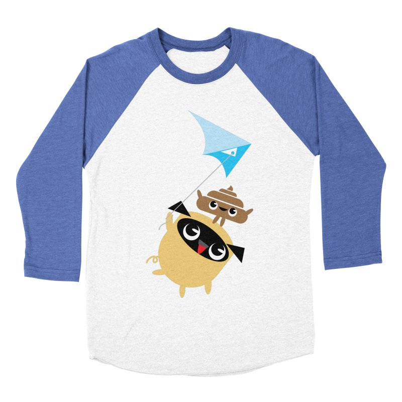 Pug & Poo Flying A Kite Men's Baseball Triblend Longsleeve T-Shirt by Rick Hill Studio's Artist Shop