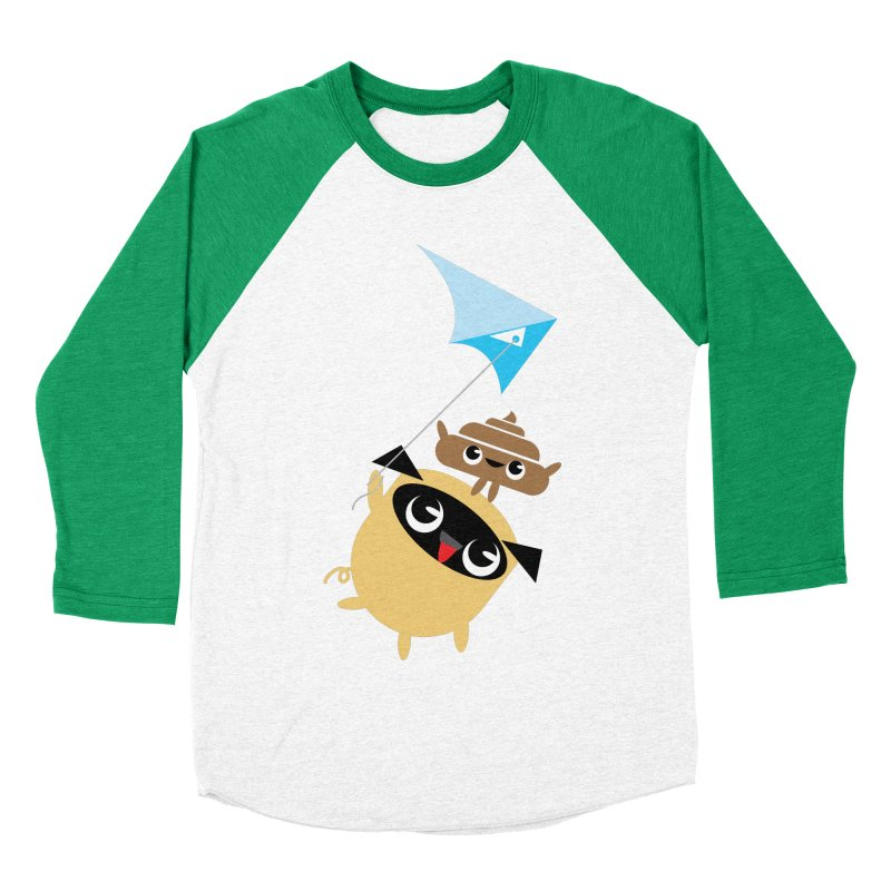 Pug & Poo Flying A Kite Men's Baseball Triblend Longsleeve T-Shirt by Rick Hill Studio's Artist Shop