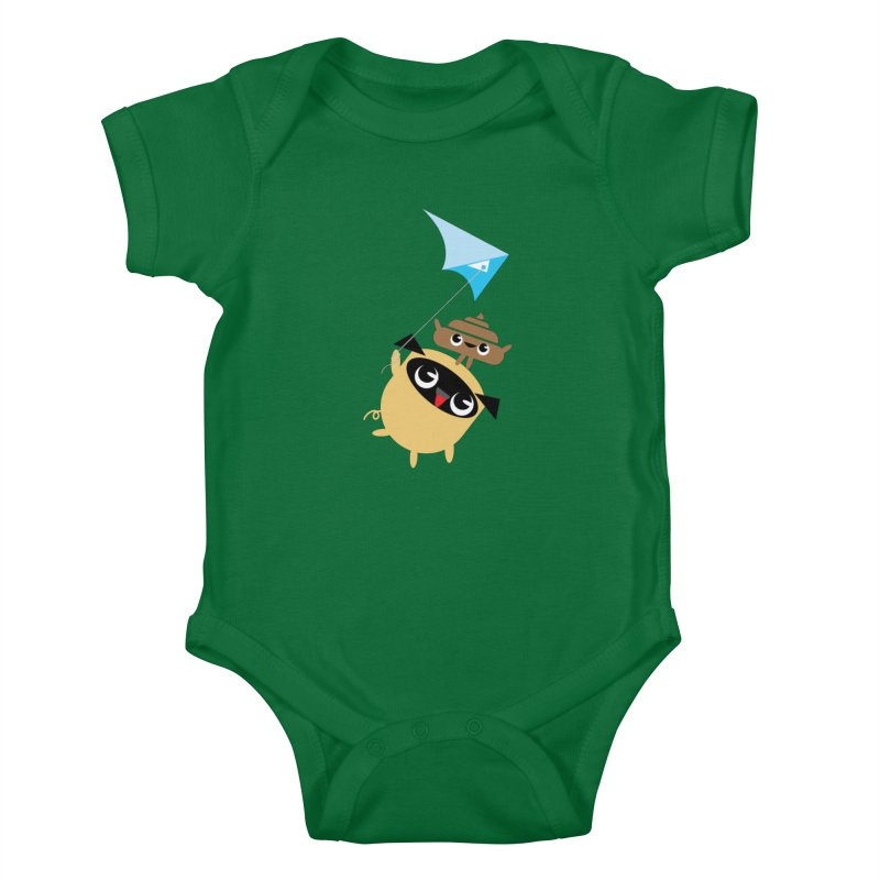 Pug & Poo Flying A Kite Kids Baby Bodysuit by Rick Hill Studio's Artist Shop