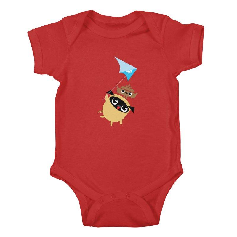 Pug & Poo Flying A Kite Kids Baby Bodysuit by Rick Hill Studio's Artist Shop