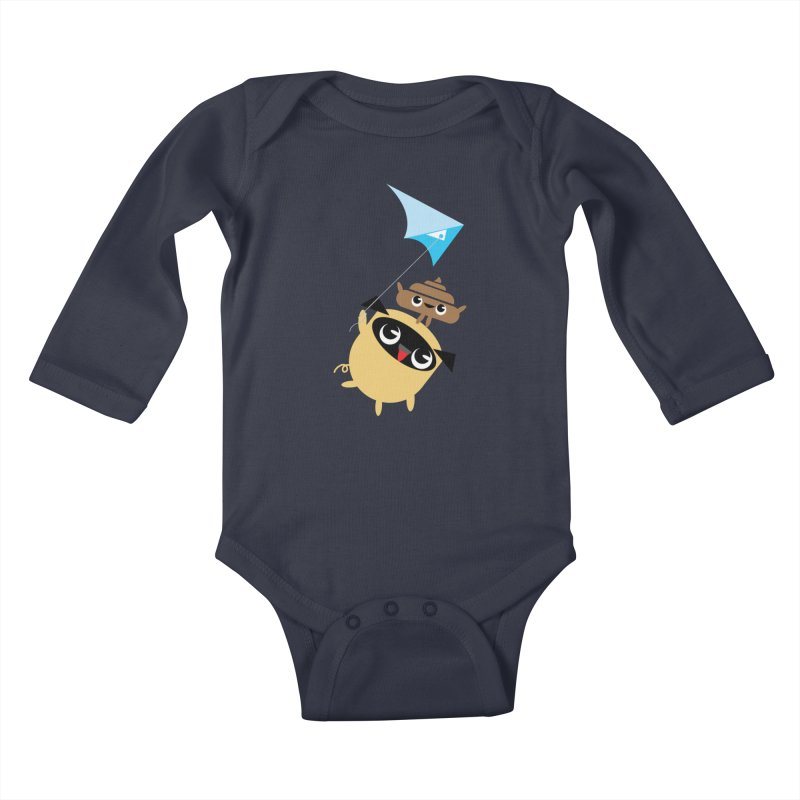 Pug & Poo Flying A Kite Kids Baby Longsleeve Bodysuit by Rick Hill Studio's Artist Shop