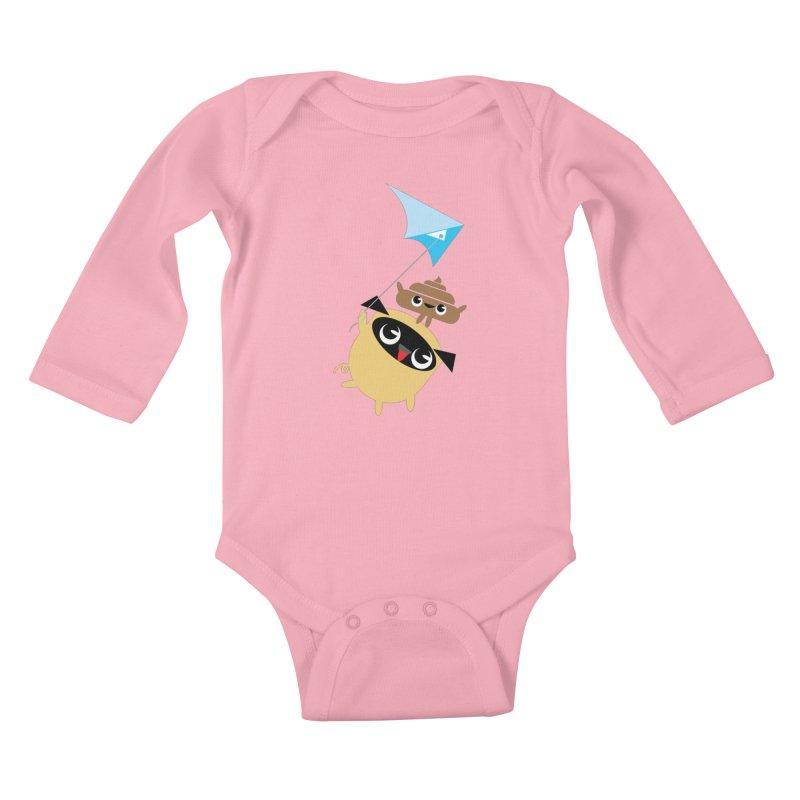 Pug & Poo Flying A Kite Kids Baby Longsleeve Bodysuit by Rick Hill Studio's Artist Shop