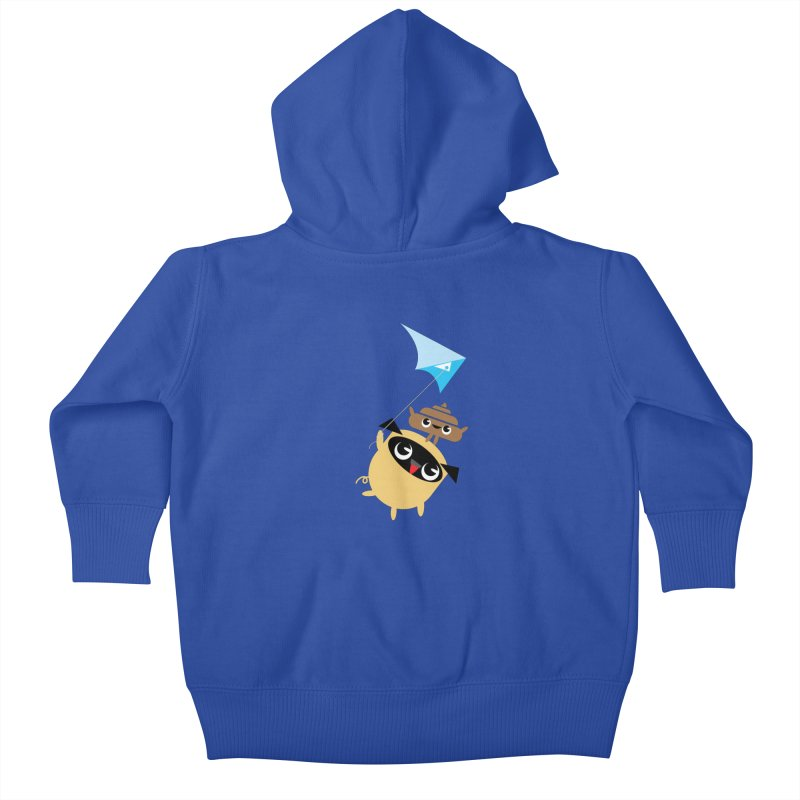 Pug & Poo Flying A Kite Kids Baby Zip-Up Hoody by Rick Hill Studio's Artist Shop