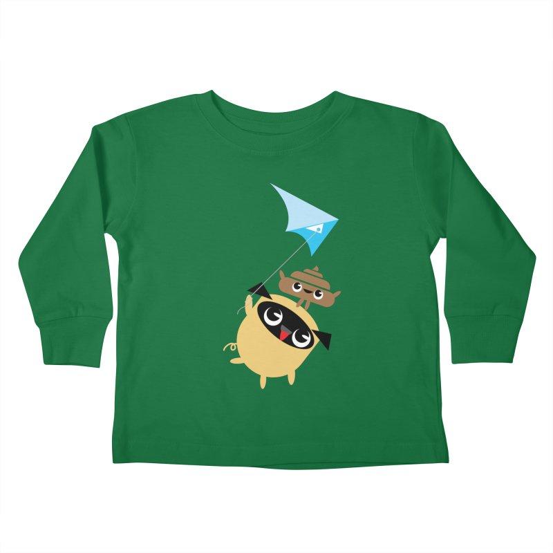 Pug & Poo Flying A Kite Kids Toddler Longsleeve T-Shirt by Rick Hill Studio's Artist Shop