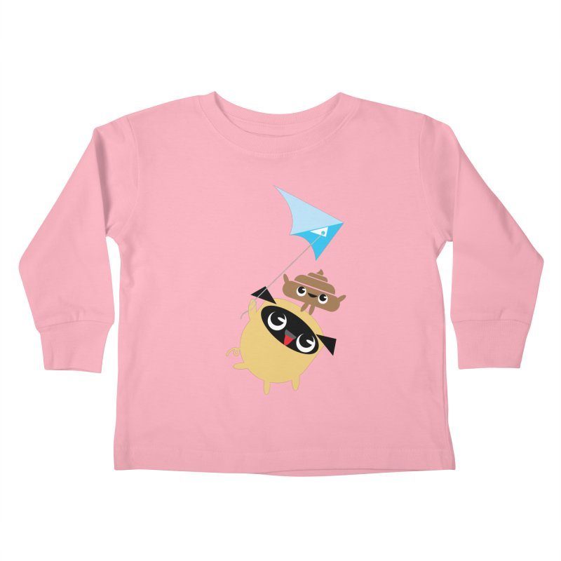 Pug & Poo Flying A Kite Kids Toddler Longsleeve T-Shirt by Rick Hill Studio's Artist Shop