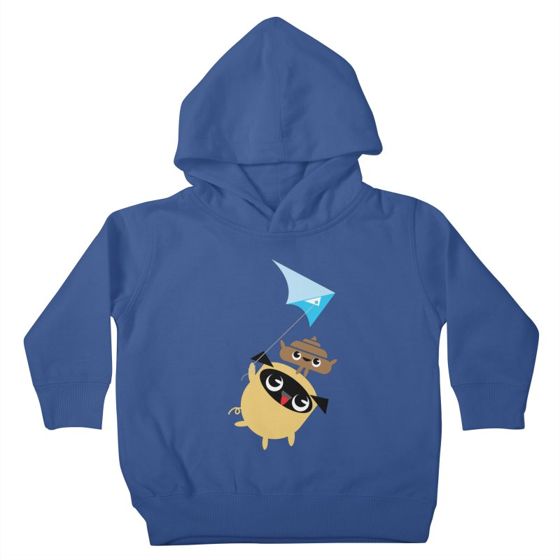 Pug & Poo Flying A Kite Kids Toddler Pullover Hoody by Rick Hill Studio's Artist Shop