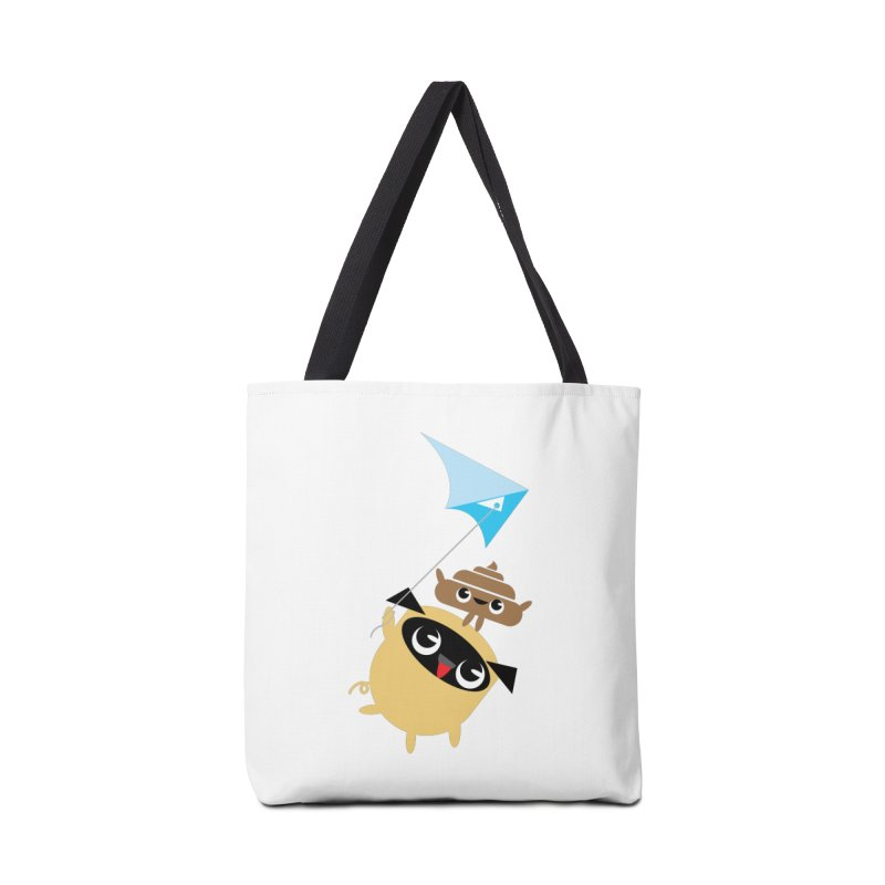 Pug & Poo Flying A Kite Accessories Tote Bag Bag by Rick Hill Studio's Artist Shop
