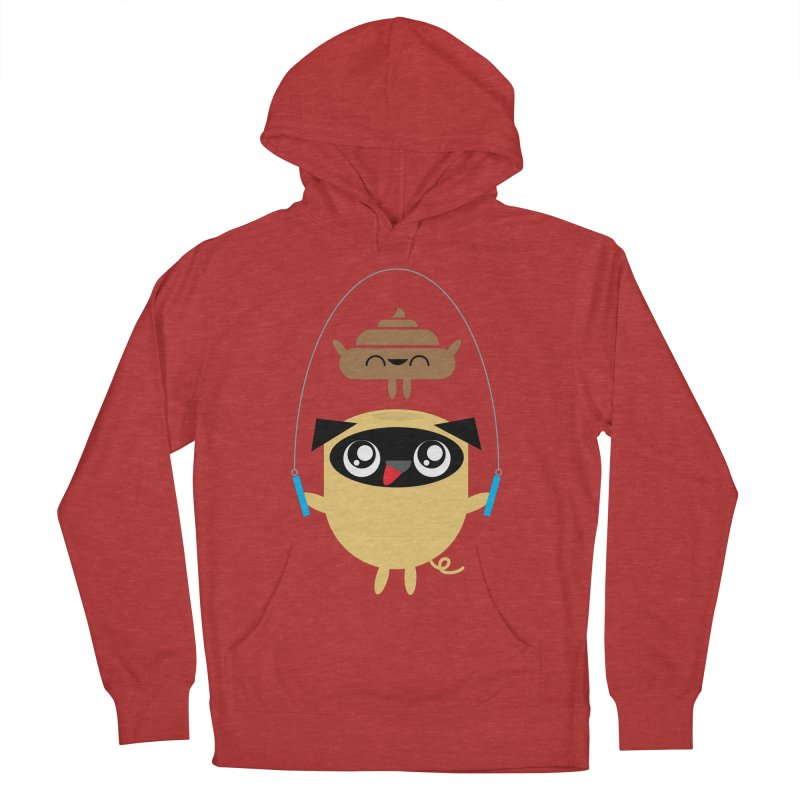 Pug & Poo Jumping Rope Women's Pullover Hoody by Rick Hill Studio's Artist Shop