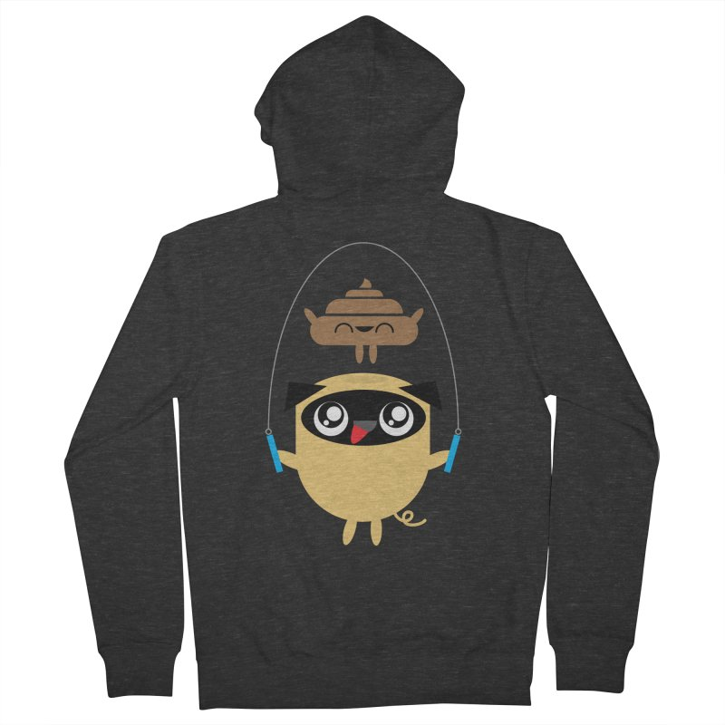 Pug & Poo Jumping Rope Women's French Terry Zip-Up Hoody by Rick Hill Studio's Artist Shop