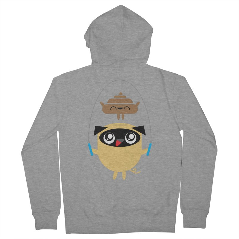 Pug & Poo Jumping Rope Men's Zip-Up Hoody by Rick Hill Studio's Artist Shop
