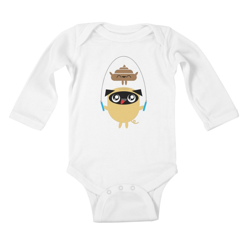 Pug & Poo Jumping Rope Kids Baby Longsleeve Bodysuit by Rick Hill Studio's Artist Shop