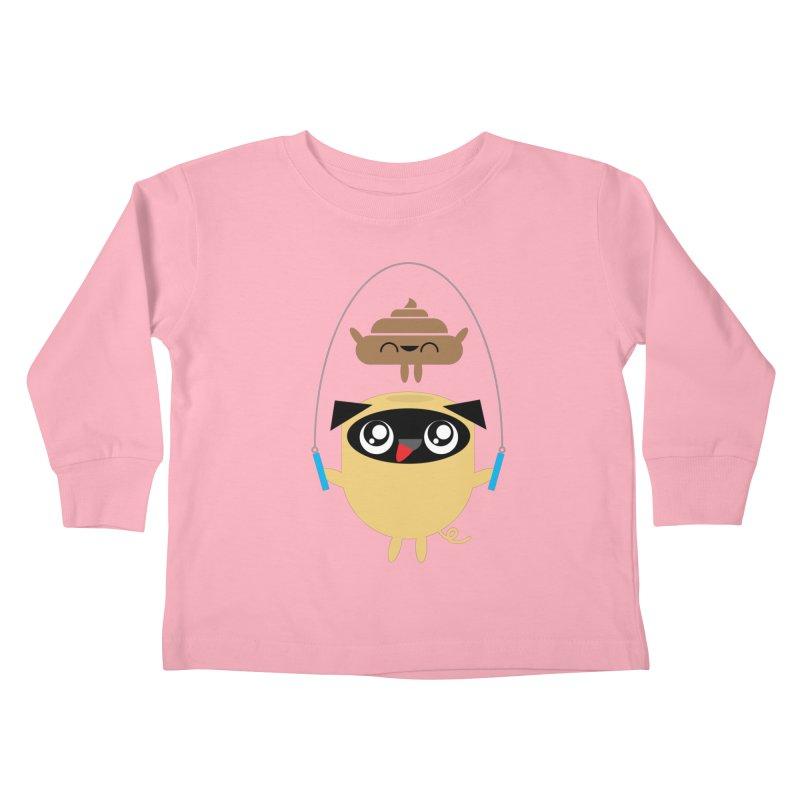 Pug & Poo Jumping Rope Kids Toddler Longsleeve T-Shirt by Rick Hill Studio's Artist Shop