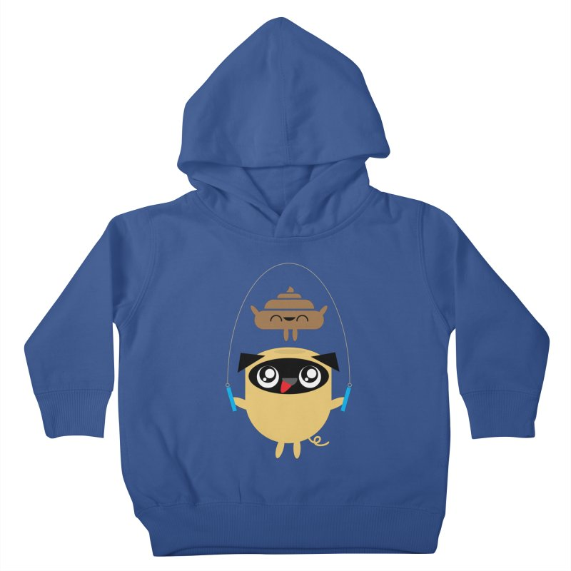 Pug & Poo Jumping Rope Kids Toddler Pullover Hoody by Rick Hill Studio's Artist Shop