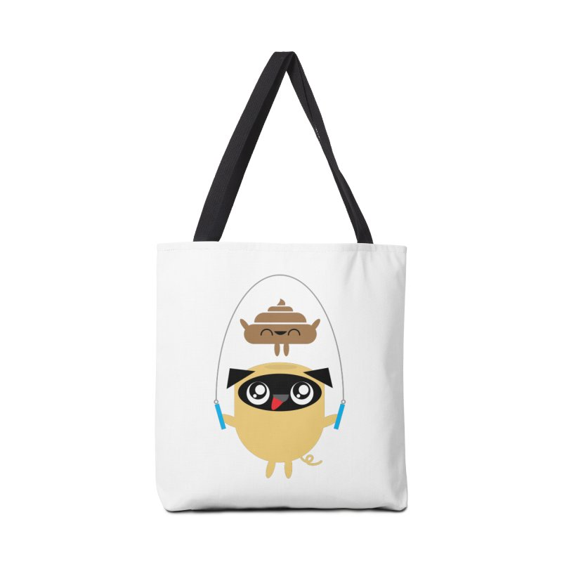 Pug & Poo Jumping Rope Accessories Tote Bag Bag by Rick Hill Studio's Artist Shop