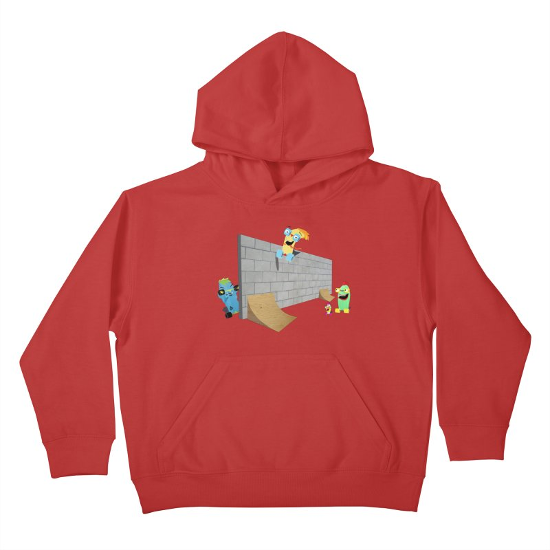 Ollie Rips Wall Ride Kids Pullover Hoody by Rick Hill Studio's Artist Shop
