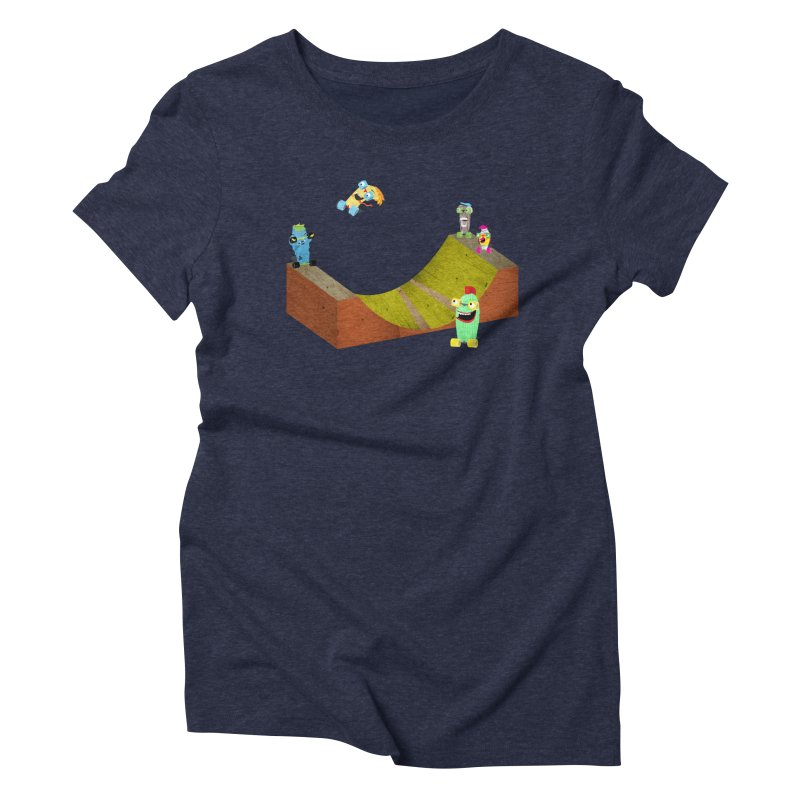 Ollie Rips Mini Ramp Women's Triblend T-Shirt by Rick Hill Studio's Artist Shop