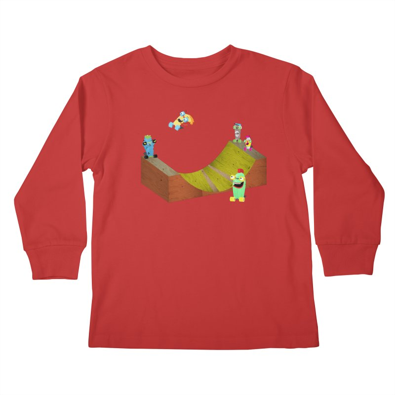 Ollie Rips Mini Ramp Kids Longsleeve T-Shirt by Rick Hill Studio's Artist Shop